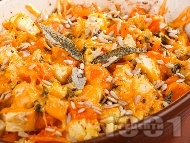 Рецепта Празнично печиво за вегетарианци от тиква, целина и сирене чедър на фурна